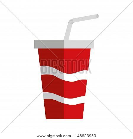 soda drink glass with straw vector illustration design