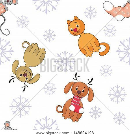 Christmas seamless pattern with the image of funny pets
