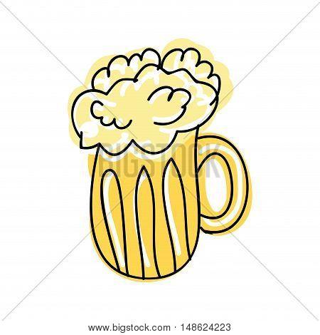 beer mug with foam. alcohol drink. drawn design. vector illustration