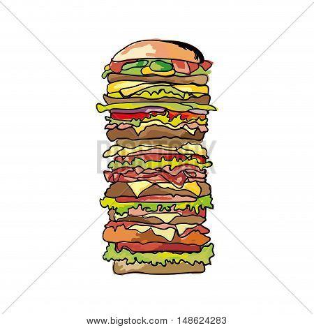 american big burger traditional fast food. drawn design. vector illustration