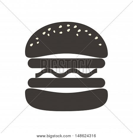 american burger traditional fast food silhouette. vector illustration
