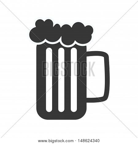 beer mug with foam. alcohol drink. silhouette vector illustration