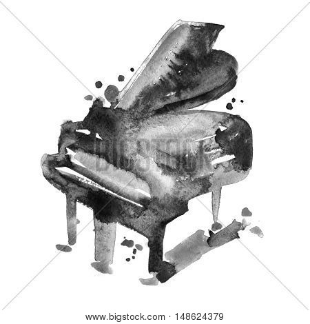sketch watercolor grand piano on a white background