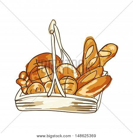 breads baked  bakery food product. drawn design. vector illustration