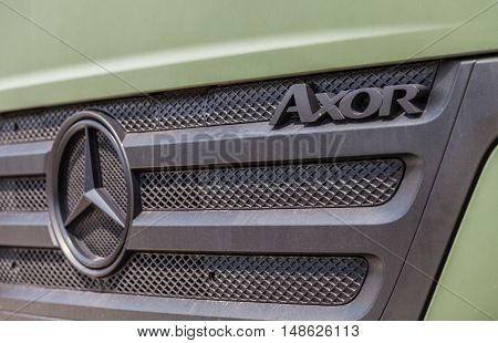 BURG / GERMANY - JUNE 25 : german mercedes benz axor stands under military roof on open day in barrack burg / germany at june 25 2016.