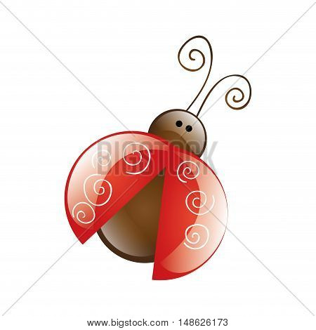 red and brown lady bug animal insect. vector illustration