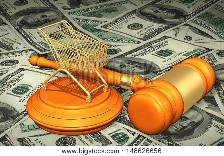 Shopping Cart Legal Gavel Concept 3D Illustration