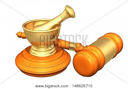 Mortar And Pestle Legal Gavel Concept 3D Illustration