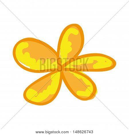 yellow flower floral nature decoration. drawn design. vector illustration