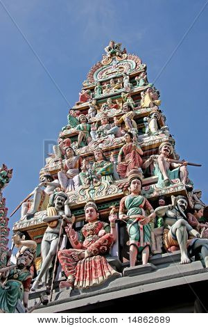 Ornate statues in indian temple depicting hindu gods