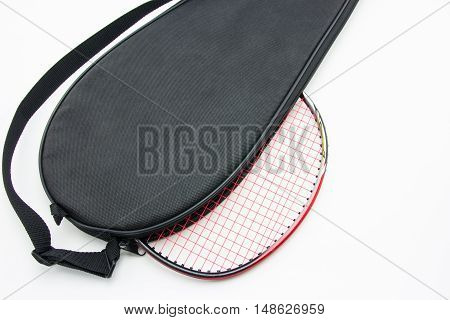 close up badminton racket in the bag