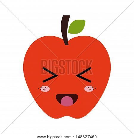 red apple fruit food. kawaii cartoon with happy expression face. vector illustration
