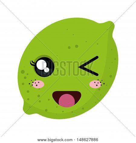 green lemon acid fruit food. kawaii cartoon with happy expression face. vector illustration