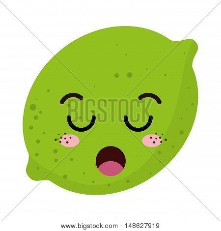 green lemon acid fruit food. kawaii cartoon with lazy expression face. vector illustration