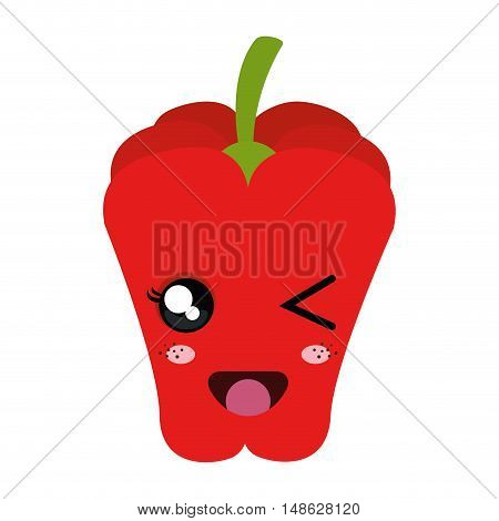 red pepper vegetable food. kawaii cartoon with happy expression face. vector illustration