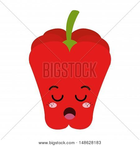 red pepper vegetable food. kawaii cartoon with lazy expression face. vector illustration