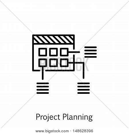 Vector Illustration Of Project Management Icon On Planning And Schedule In Trendy Flat Style. Projec