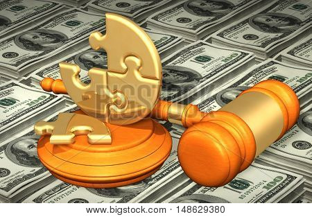 Puzzle Legal Gavel Concept 3D Illustration