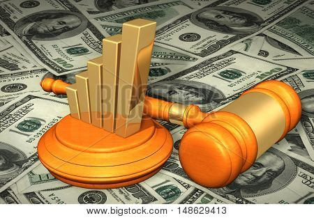 Bar Graph Legal Gavel Concept 3D Illustration
