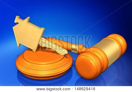 House Key Legal Gavel Concept 3D Illustration