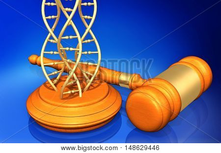 DNA Legal Gavel Concept 3D Illustration
