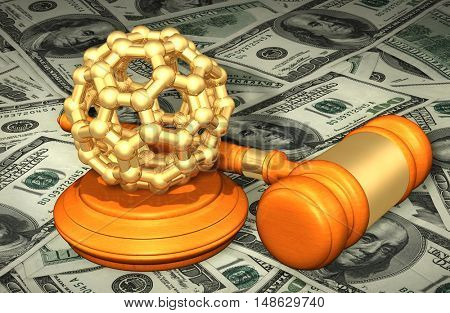 Molecule Legal Gavel Concept 3D Illustration