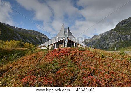 Breheimsenteret - National Park. Visitors Centre - museum. Jostedal Glacier National Park. Nigardsbreen, Norway. September 25, 2015