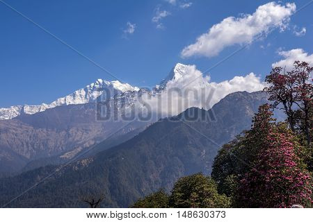 View of Himalayas ranges during