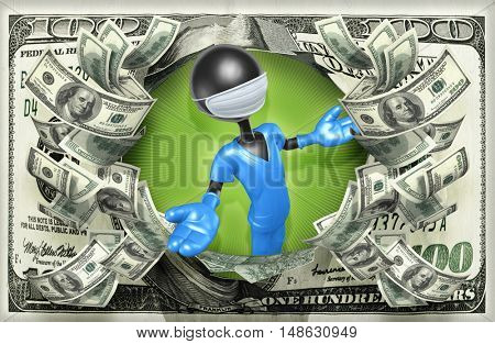Doctor Character With Money 3D Illustration