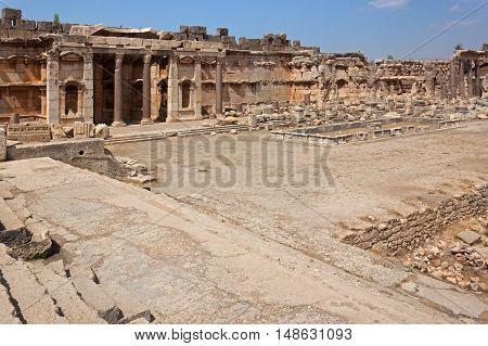 Old square of roman ruins of Baalbek, Lebanon. Heliopolis.