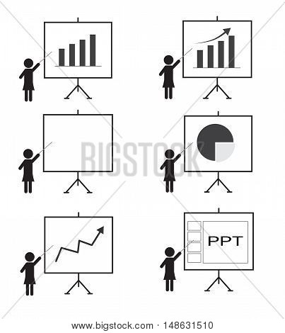 Training presentation icon woman presenting something on a board