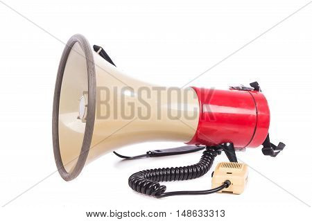 red megaphone on white background,object ,communication ,phone