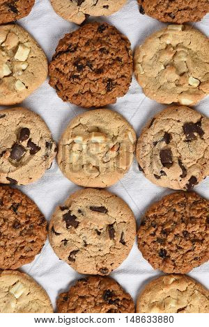 A group of assorted cookies. Chocolate chip, oatmeal raisin, white chocolate fill the frame.