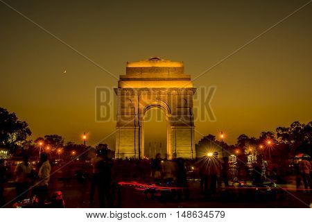 India Gate at night time, New Delhi, India.