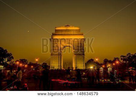 India Gate at night time, New Delhi, India.