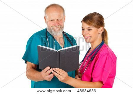Picture of a doctor discussing patient's treatment with a young nurse