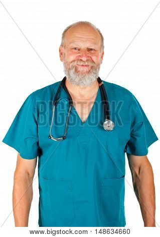 Picture of a confident doctor standing on an isolated background