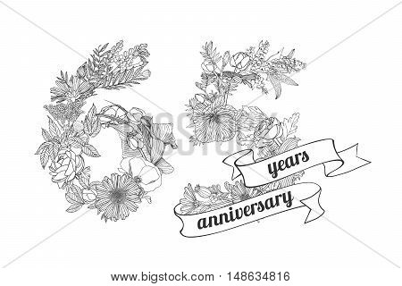 sixty five (65) years anniversary sign of floral linear digits
