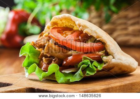 Doner Kebab - Fried Chicken Meat With Vegetables