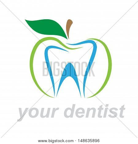 Vector sign dentist. Bite the apple, isolated on white