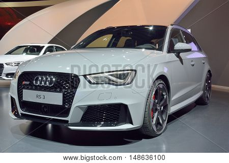 Wolfsburg, Germany - April 15, 2016. Audi RS3 car on display at permanent Audi exhibition in Autostadt theme park in Wolfsburg.