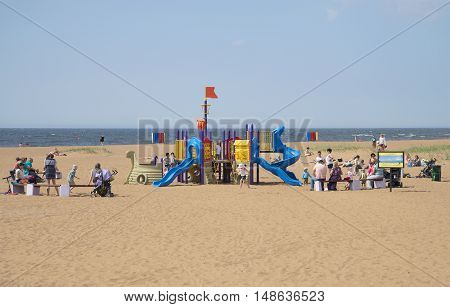 ZELENOGORSK, RUSSIA - JUNE 21, 2015: Children play area on the beach of the Gulf of Finland. Zelenogorsk