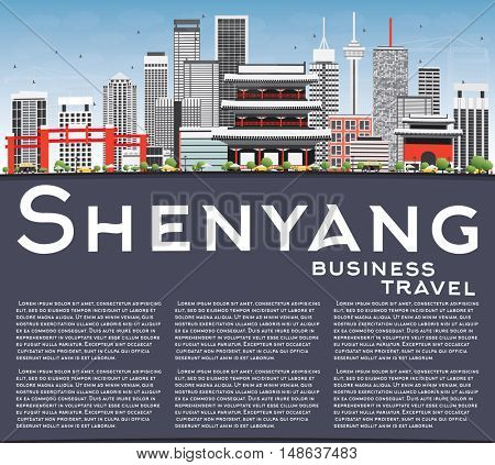 Shenyang Skyline with Gray Buildings, Blue Sky and Copy Space. Business Travel and Tourism Concept with Modern Buildings. Image for Presentation Banner Placard and Web Site.
