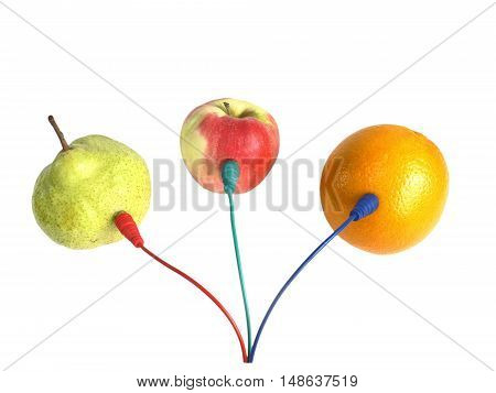 paradox. fruits are connected by cable to exchange information. isolate on white background without shadows. easy to cut for your project.