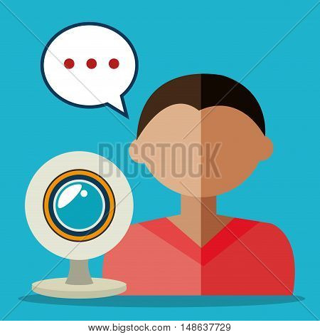 avatar man with web cam device and bubble speech. Colorful design. Vector Illustration