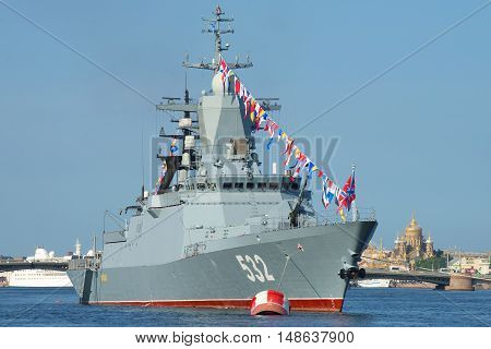 ST. PETERSBURG, RUSSIA - JULY 28, 2016: Missile corvette