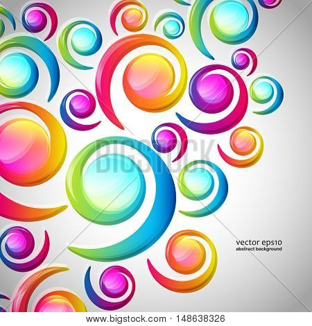 Abstract colorful spiral arc-drop pattern on a light background. Transparent colorful elements and circles design card.  Vector illustration.