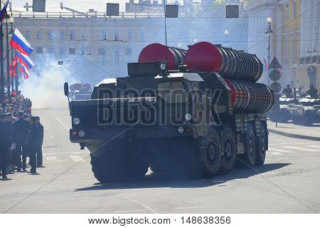 SAINT PETERSBURG, RUSSIA - MAY 09, 2015: Anti-aircraft missile system s-300PM leaves the parade in honor of Victory Day