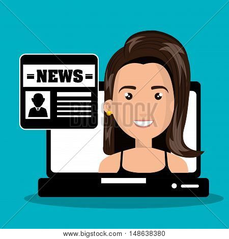 Woman avatar with  laptop and newspaper. news and technology  icons set. Colorful design. Vector Illustration