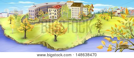 Autumn landscape with small city near a river. Digital Painting panoramic background Illustration.
